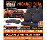 TUFF HD Canvas Seat Covers F+R & Dash Mat Isuzu D-MAX Dual Cab 6/2012-18 DMAX BLACK