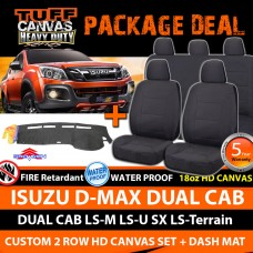 TUFF HD Canvas Seat Covers F+R & Dash Mat Isuzu D-MAX Dual Cab 6/2012-18 DMAX BLACK