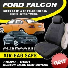 FORD FALCON BA BF FG CHARCOAL CUSTOM MADE SEAT COVERS F+R 10/2002-on