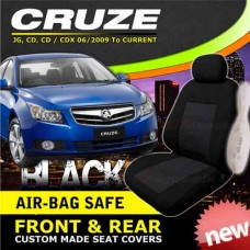 HOLDEN CRUZE Black CUSTOM MADE SEAT COVERS F+R 06/2009 to 2013