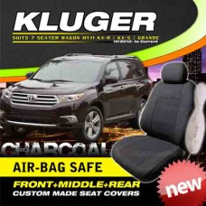 TOYOTA KLUGER CUSTOM MADE SEAT COVERS 7 SEATER AIR BAG SAFE F+M+R CHARCOAL MY11