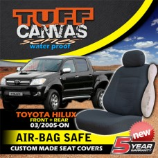 Tuff Canvas Custom Made Seat Covers F+R to suit Toyota Hilux SR5 + SR from 2005-2015